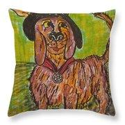 Junk Yard Dog Throw Pillow