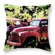 Junked Fire Engines Throw Pillow