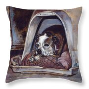 Junkyard Dog Throw Pillow by Harvie Brown