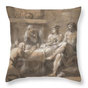 Jupiter And Mercury In The House Of Baucis And Philemon Throw Pillow