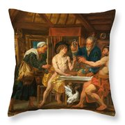 Jupiter And Mercury In The House Of Philemon And Baucis Throw Pillow