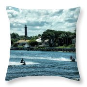 Jupiter Inlet And Lighthouse Throw Pillow