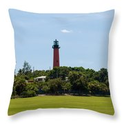 Jupiter Inlet Lighthouse Throw Pillow