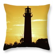 Jupiter Lighthouse Golden Sunrise Throw Pillow