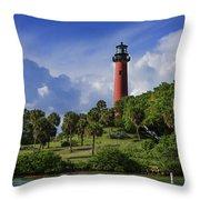 Jupiter Lighthouse Sq Throw Pillow