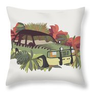 Jurassic Car Throw Pillow