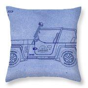 Jurassic Park Jeep Blueprint Throw Pillow