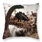 Jurassic Swamp Throw Pillow