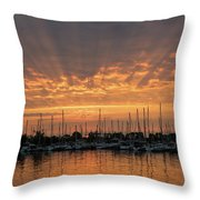 Just A Sliver Of The Sun - Sunrise God Rays At The Marina Throw Pillow