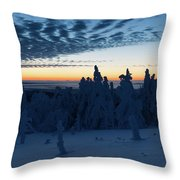 Just Before Sunrise On The Brocken In The Harz Mountains Throw Pillow