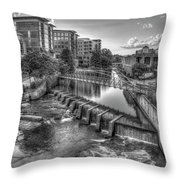 Just Before Sunset B W Reedy River Falls Park Greenville South Carolina Art Throw Pillow
