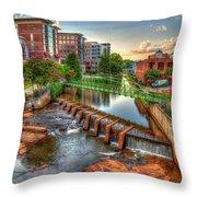 Just Before Sunset Reedy River Falls Park Greenville South Carolina Art Throw Pillow