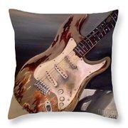 Just Broken In- Old Guitar Throw Pillow