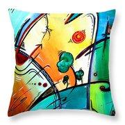 Just Having Fun Original Pop Art Abstract Painting By Madart Throw Pillow