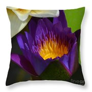 Just Opening Purple Waterlily -  Square Throw Pillow