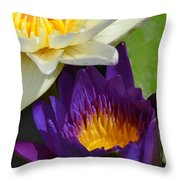 Just Opening Purple Waterlily With White - Vertical Throw Pillow