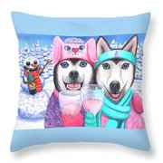 Just Wining In A Winter Wonderland Throw Pillow