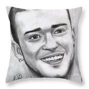 Justing Timberlake Portrait Throw Pillow