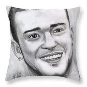 Justing Timberlake Portrait Throw Pillow