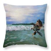 Juvenile Eagle At Sea Wildlife Art Throw Pillow
