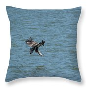 Juvenile Eagle Fishing Pickwick Lake Tennessee 031620161318 Throw Pillow