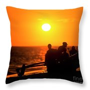 Kaanapali Beach Outrigger Sunset Throw Pillow