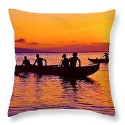 Maui Hawaii Kaanapali Outrigger Sunset Throw Pillow
