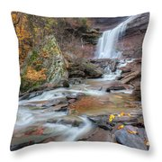 Kaaterskill Falls Autumn Portrait Throw Pillow