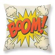 Comic Boom On Off White Throw Pillow
