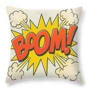Comic Boom On Off White Throw Pillow