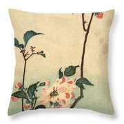 Kaido Ni Shokin II - Small Bird On A Blossoming Branch II Throw Pillow