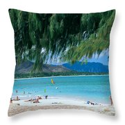 Kailua Beach Park Throw Pillow