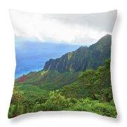 Kalalau Trail Overlook Throw Pillow