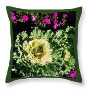 Kale With Petunias Throw Pillow