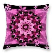 Kaleidoscope 1 With Black Flower Framing Throw Pillow