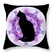 Kaleidoscope Cat Silhouette Throw Pillow by Deleas Kilgore