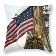 Kalmar Nyckel American Flag Throw Pillow