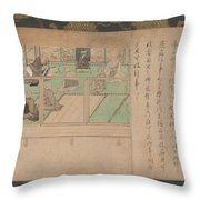 Kamakura Period    Illustrated Biography Of Hnen Shikotokden E Throw Pillow