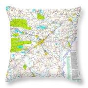 Kamkam Arkansas Highway Map  Throw Pillow