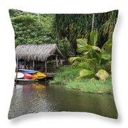 Kamokila Hawaiian Village - Kauai Throw Pillow
