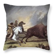 Kane: Buffalo Hunt Throw Pillow