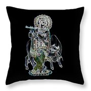 Kanha With Cow Throw Pillow