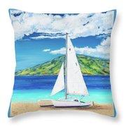 Kanoa At Kaanapali Beach Maui Throw Pillow