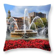 Kansas City Fountain Ablaze In Crimson Throw Pillow