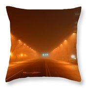 Kansas City Grand Avenue In Fog Throw Pillow