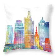 Kansas City Landmarks Watercolor Poster Throw Pillow