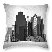 Kansas City Skyline In Black And White Throw Pillow