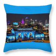 Kansas City Vibrant At Night Throw Pillow