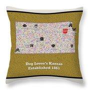 Kansas Loves Dogs Throw Pillow