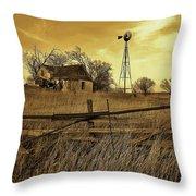 Kansas Pioneer Homestead On The Plains Throw Pillow